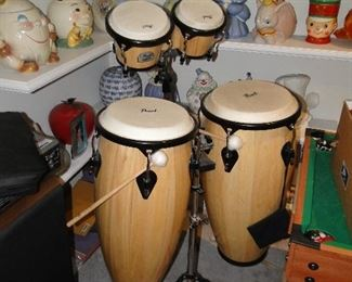 Pearl Bongo and conga drum set with stands $400