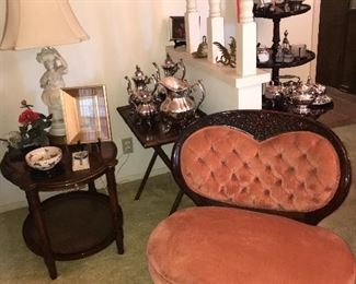 19TH CENTURY ROCOCO REVIVAL OVERSIZE CHAIR/REED AND BARTON S/P COFFEE-TEA SERVICE/ ORIENTAL LADY LAMP/ ANTIQUE ROUND 2 TIER TABLE W/ SLIDE