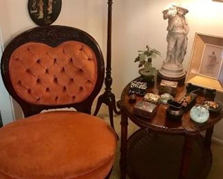 ROCOCO REVIVAL CHAIR W/ TUFTED HEART SHAPE BACK AND CARVED WOOD FRAME, CANDLE STICK STAND, COLLECTION OF BOXES, SIDE TABLE W/ SLIDE SHELF HEKMAN FURNITURE