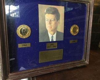 Framed JFK Plaque with Half Dollars  https://ctbids.com/#!/description/share/188700