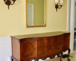 Chippendale style sideboard and gilt mirror