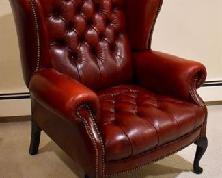 Second red leather wing back chair