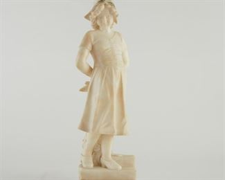 """Pieter Barranti (19th c). Marble sculpture titled """"Dorothy"""" of a young girl. Signed """"P. Barranti, Firenze"""" along the base. The base is additionally inscribed with the title.  SKU: 01411 Follow us on Instagram: @revereauctions"""