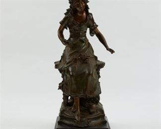 """After Auguste Moreau (1861-1906). Bronze sculpture titled """"Red Riding Hood."""" Signed and titled along the base. """"Copyright M Mullers Son NY"""" label along the verso. SKU: 01872 Follow us on Instagram: @revereauctions"""
