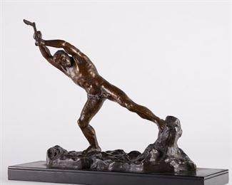 Ghanu Gantcheff (d. 1950). Bronze sculpture of a woodcutter. Signed along the base.  SKU: 01320 Follow us on Instagram: @revereauctions