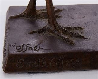 """Elliot Offner (1931-2010). Bronze sculpture of a crane. Signed along the base. Additionally inscribed """"Edition 150"""" and """"Smith College.""""  SKU: 01376 Follow us on Instagram: @revereauctions"""