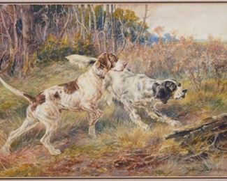 Edmund Osthaus (1858-1928). Watercolor on paper depicting a pair of hunting dogs in the woods. Signed along the lower right. A framer's label adhered to the verso provides the title, partially obscured due to a fold in the paper, and is dated to January 31, 1907.  SKU: 01361 Follow us on Instagram: @revereauctions