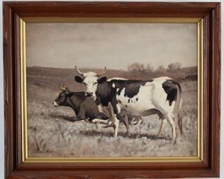 Thomas Craig (1849-1924). Oil on canvas depicting a pastoral scene of two cows grazing. Signed along the lower left.  SKU: 01191 Follow us on Instagram: @revereauctions