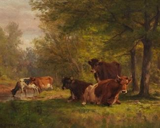 Thomas Craig (1849-1924). Oil on canvas depicting a group of cattle grazing under trees. Signed along the lower left.  SKU: 01192 Follow us on Instagram: @revereauctions