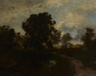 """Alexander Wyant (1836-1892). Oil on canvas titled """"The Winding Path"""" depicting a path among trees under cloudy skies. Signed along the lower left. The painting is titled on a brass nameplate on the frame. The Carrig Rohane frame is signed and dated 1922. SKU: 01051 Follow us on Instagram: @revereauctions"""