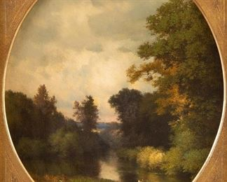 """George Inness (1825-1894). Oil on canvas titled """"Solitude"""" depicting a river landscape. Signed along lower left. C. 1859. Provenance: Loaned to the Minneapolis Institute of Art by Mr. and Mrs. Harold H. Tearse (November 4, 1965-January 2, 1966). Literature: Catalogue Raisonne by Michael Quick, #138 p. 151  SKU: 01060 Follow us on Instagram: @revereauctions"""