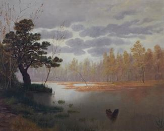 Feodor von Luerzer (1851-1913). Oil on canvas depicting a serene landscape. Signed and dated 1896 along the lower left.  SKU: 01218 Follow us on Instagram: @revereauctions