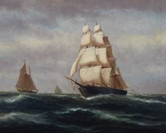 Wesley Webber (1841-1914). Oil on canvas depicting two ships at sea. Signed along the lower left. A label from the Lyman Allen Museum Conservation Laboratory is adhered to the verso.  SKU: 01193 Follow us on Instagram: @revereauctions