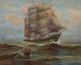 Edward Page (1850-1928). Oil on canvas depicting a ship and a buoy. Signed along the lower left.  SKU: 01194 Follow us on Instagram: @revereauctions
