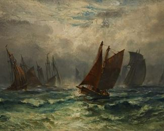 Robert Hopkins (1832-1909). Oil on canvas depicting a group of ships under a cloudy sky. Signed and dated 1884 along the lower right.  SKU: 01195 Follow us on Instagram: @revereauctions