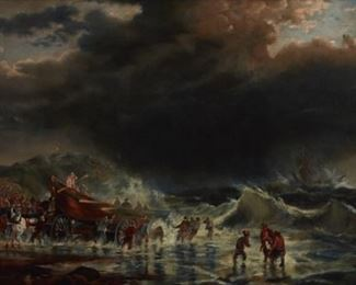 Laura A. Baker (19th c). Oil on canvas marine painting depicting survivors fleeing a shipwreck. Signed and dated 1895 along the lower right.  SKU: 01822 Follow us on Instagram: @revereauctions