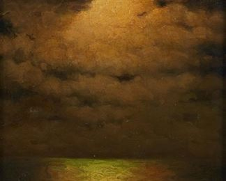 """Richard Dey De Ribcowsky (1880-1936). Oil on canvas titled """"Nocturne,"""" depicting a cloudy sunset over the sea. Signed along the lower left. Titled on the brass nameplate.  SKU: 01307 Follow us on Instagram: @revereauctions"""