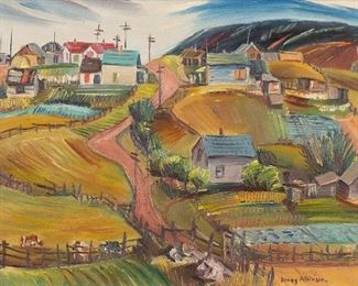 """Dewey Albinson (1898-1971). Oil on canvas titled """"Hillside Settlers."""" Signed along the lower right.  SKU: 01080 Follow us on Instagram: @revereauctions"""