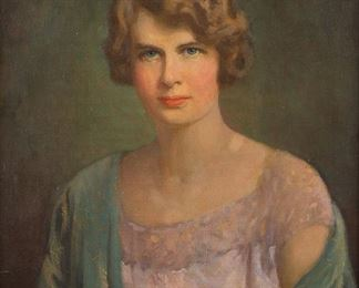 Carl Rawson (1884-1970). Oil on canvas portrait of a young woman. Signed and dated 1924 along the lower right. Likely Newcomb Macklin frame with splined corners.  SKU: 01055 Follow us on Instagram: @revereauctions