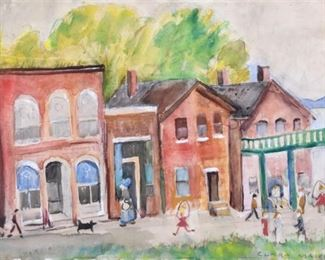 Clara Mairs (1878-1963). Watercolor on paper depicting a street with store fronts. Signed along the lower right.  SKU: 01078 Follow us on Instagram: @revereauctions