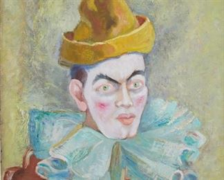 Clara Mairs (1878-1963). Oil on board depicting a clown. Signed along the lower right.  SKU: 01076 Follow us on Instagram: @revereauctions