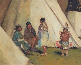 Sheryl Bodily (b. 1936). Oil on canvas depicting a group of people talking amongst tipis. Signed along the lower right.  SKU: 01309 Follow us on Instagram: @revereauctions