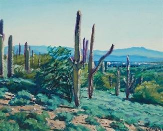 """Christopher Gerlach (b. 1952). Oil on canvas titled """"Saguaro Landscape"""" depicting a desert scene. Signed along the lower right. A label from Gerlachs, Santa Fe is adhered to the verso. SKU: 01962 Follow us on Instagram: @revereauctions"""