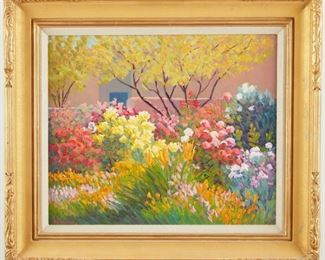 """M.L. Coleman (b. 1941). Oil on canvas titled """"Summer Fragrance-V"""" depicting a garden in full bloom. Signed along the lower left. Further signed, titled, and dated 1991 along the verso. Additionally inscribed """"Reproduction Rights Reserved, 20 x 24--Oil, #91-16.""""  SKU: 01960 Follow us on Instagram: @revereauctions"""