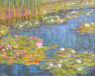 """M.L. Coleman (b. 1941). Oil on canvas titled """"Summer Fragrance-XII"""" depicting a pond with water lilies. Signed along the lower left. Further signed, titled, and dated 1991 along the verso. Additionally inscribed """"Reproduction Rights Reserved, 24 x 30--Oil, #91-55.""""  SKU: 01959 Follow us on Instagram: @revereauctions"""