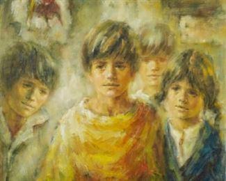Lisette De Winne (20th c.). Oil on canvas depicting children. Signed along the lower right.  SKU: 01768 Follow us on Instagram: @revereauctions