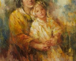 Lisette De Winne (20th c.). Oil on canvas depicting a mother and child. Signed along the lower right. SKU: 01799 Follow us on Instagram: @revereauctions