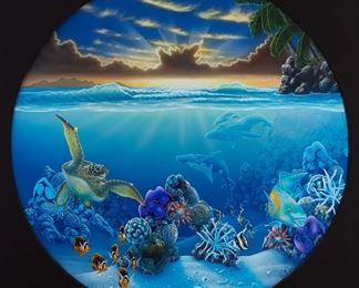 Dale Zarrella (20th/21st c). Oil on canvas depicting a Hawaiian undersea scene. Signed and dated '99 along the lower right.  SKU: 02016  Follow us on Instagram: @revereauctions