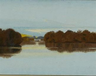 """James Childs (b. 1947). Oil on canvas-laid board titled """"Lake of the Isles,"""" depicting a scene of Lake of the Isles, Minneapolis, Minnesota. The artist has confirmed that this is his work.  SKU: 01979 Follow us on Instagram: @revereauctions"""