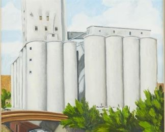 """Rod Massey (b. 1949). Oil on board titled """"Grain Elevator"""" depicting a grain elevator overlooking train tracks, likely in Minneapolis, Minnesota. Signed and dated '84 along the lower right. Inscribed """"Copyright Rod Massey 1984"""" along the verso.  SKU: 01981 Follow us on Instagram: @revereauctions"""