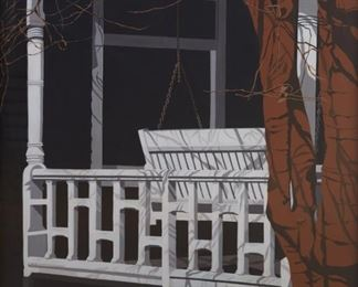 """Janice Colker (1929-2009). Pair of oil paintings on canvas titled """"Porch Swing I"""" and Porch Swing II."""" Both signed along the lower left. Both titled along the verso, and additionally inscribed with the artist's name and address, along with measurements of the painting, along the verso. SKU: 01805 Follow us on Instagram: @revereauctions"""