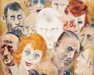 Syd Fossum (1909-1978). Oil on canvas depicting a group of faces. Signed and dated '63 and '69 along the lower right.  SKU: 01311 Follow us on Instagram: @revereauction