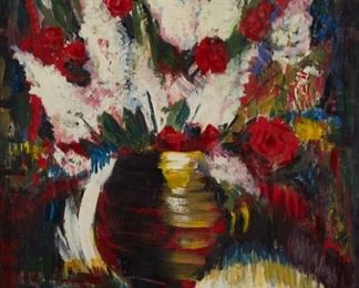 Janis Tidemanis (1897-1964). Oil on masonite still life depicting a vase of brilliantly colored flowers. Signed along the lower right. Janis Tidemanis was born in Latvia, but lived and worked throughout the world, studying art in Cleveland and New York, as well as in Belgium, where he was a student at the Royal Academy of Fine Arts in Antwerp. Due to his time in Antwerp, his art was extremely influenced by Belgian Impressionism. He is most known for his still lifes, which, like this painting, often feature bright, jewel-like flowers against a dark background.  SKU: 01766 Follow us on Instagram: @revereauctions