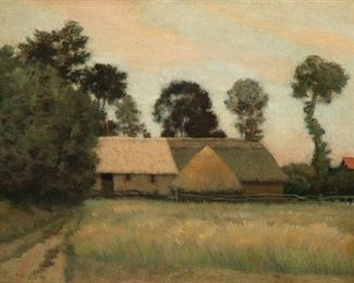 Jean Charles Cazin (1841-1901). Oil on canvas depicting a landscape with a wooded farmhouse. Signed along the lower left.  SKU: 01114 Follow us on Instagram: @revereauctions