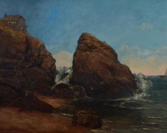 """Alexander Williams (1846-1930). Oil on canvas seascape painted during Williams' time at the Royal Hibernian Academy. Signed along the lower left and inscribed """"RHA.""""  SKU: 01584 Follow us on Instagram: @revereauctions"""
