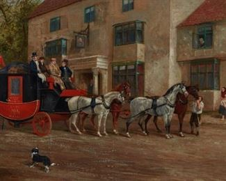 Richard Dodd Widdas (1826-1885). Oil on canvas depicting a Royal Mail coach. Signed and dated 1883 along the lower left. A label from the W. Russell Button Gallery, Chicago, is adhered to the verso.  SKU: 01823 Follow us on Instagram: @revereauctions