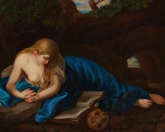 """After Pompeo Girolamo Batoni (1708-1787). Oil on canvas-laid board titled """"Penitent Magdalene"""" after Batoni's now-lost original, depicting Mary Magdalene in a wooded grove wearing a blue robe. She reads a text and a skull lies next to the manuscript. Circa late 18th-early 19th c.  SKU: 01321 Follow us on Instagram: @revereauctions"""
