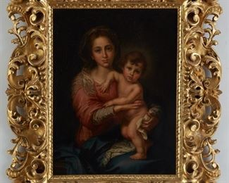 """After Bartolome Esteban Murillo (1617-1682). Oil on canvas depicting the Madonna and child. A label on the verso reads """"Murillo's Madonna, purchased March 3, 1907, Florence, Italy for $400 incl. frame by Will Connery (father of Charlotte Remien) from Giraldi & Rangoni.""""  SKU: 01228 Follow us on Instagram: @revereauctions"""