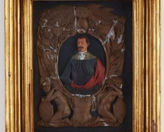 """19th century Italian polychrome-decorated wax relief portrait of a man in armor, surrounded by a decorative neoclassical border. Signed """"Gio B. Brancano[?]"""" along the lower edge of the figure. Labels from the W. Button Gallery, Chicago, and the David Ice Galleries are adhered to the verso, along with an additional label indicating the provenance of the piece.  SKU: 01824 Follow us on Instagram: @revereauctions"""
