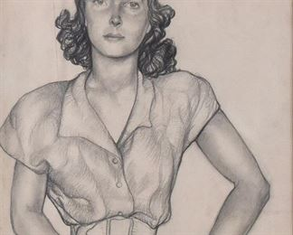 Gyula Batthyany (1888-1959). Graphite on paper portrait of a woman. Signed and dated 1945 along the lower right.  SKU: 01586 Follow us on Instagram: @revereauctions