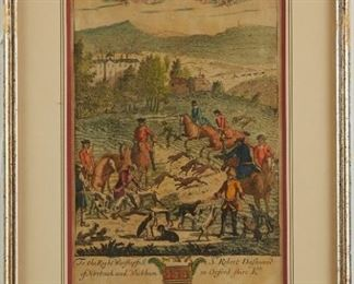 """Richard Blome (1635-1705). Group of six engravings, titled """"Death of the Fox,"""" """"Partridg [sic] Hawking,"""" """"Ceres,"""" """"Pomona,"""" """"Death of ye Hare w[i]th Fleet Hound,"""" and """"Brook Hawking."""" Each with a dedication to a lord, decorated with each lord's respective arms.  SKU: 01921 Follow us on Instagram: @revereauctions"""