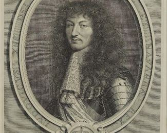 """Robert Nanteuil (c. 1623-1678). Engraving of Louis XIV of France, 1664. Inscribed surrounding the portrait """"LVDOVICVS XIII DEI GRATIA FRANCIAE ET NAVARRAE REX."""" Signed and dated in the plate along the lower left, and inscribed """"Cum privilegio Regis"""" along the lower left.  SKU: 01918 Follow us on Instagram: @revereauctions"""