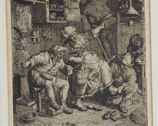 "Cornelis Dusart (1660-1704). Etching titled ""De Vermaarde Schoenmaker"" depicting a scene in shoemaker's shop. Titled along the lower edge, and signed in the plate ""Corn[elis] Dusart fecit et inven[i]t.""  SKU: 01312 Follow us on Instagram: @revereauctions"