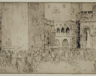 """Sir William Russel Flint (1880-1969). Drypoint etching on laid paper titled """"Nursemaids on the Piazza, """" depicting a gathering of nursemaids in the Piazza San Marco in Venice. 1929. Hand signed along the lower right, and numbered LXII along the lower left.  SKU: 01313 Follow us on Instagram: @revereauctions"""