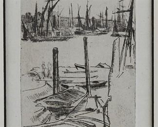 """James Abbot McNeill Whistler (1834-1903). Etching on paper titled """"Wapping (the Small Pool)"""" depicting boats at a dock. Third state, 1876-1878. A certificate of authenticity from Associated American Artists, New York, is adhered to the verso.  SKU: 01842 Follow us on Instagram: @revereauctions"""