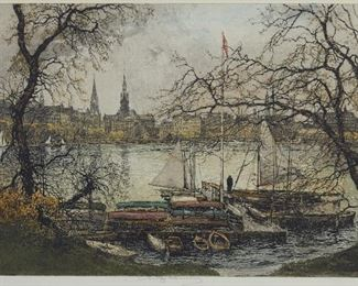 """Luigi Kasimir (1881-1962). Group of three etchings of European scenes, including """"St. Stephen's Graben,"""" """"Hamburg, Binnenalster,"""" and one snowy forest scene with a domed building in the background. All are pencil signed along the lower center. """"St. Stephen's Graben"""" and """"Hamburg Binnenalster"""" both have Artlore tags adhered to the verso; there is additionally an Opening Night, Minneapolis label adhered to the verso of """"St. Stephen's Graben."""" SKU: 01482 Follow us on Instagram: @revereauctions"""